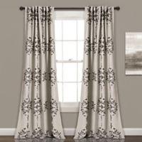 Lush Décor Keya Medallion 84-Inch Room Darkening Window Curtain Panel Pair in Grey