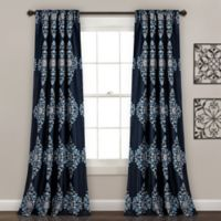 Lush Décor Keya Medallion 84-Inch Room Darkening Window Curtain Panel Pair in Navy
