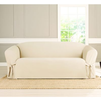 Sure Fit® Heavyweight Box Seat Sofa Cover In Natural