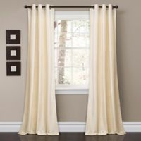Lush Décor Prima Velvet 84-Inch Grommet Room Darkening Window Curtain Panel Pair in Ivory