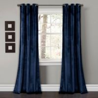 Lush Décor Prima Velvet 84-Inch Grommet Room Darkening Window Curtain Panel Pair in Navy