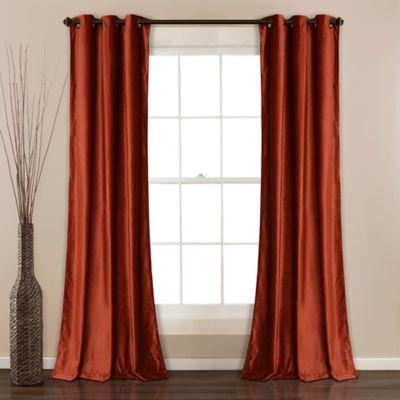 Lush Decor Prima Velvet 84 Inch Grommet Room Darkening Window Curtain Panel Pair In Rust