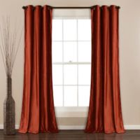 Lush Décor Prima Velvet 84-Inch Grommet Room Darkening Window Curtain Panel Pair in Rust