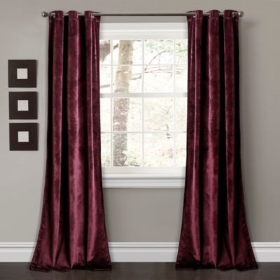 Lush Décor Prima Velvet 84 Inch Grommet Room Darkening Window Curtain Panel  Pair In Plum