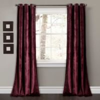 Lush Décor Prima Velvet 84-Inch Grommet Room Darkening Window Curtain Panel Pair in Plum