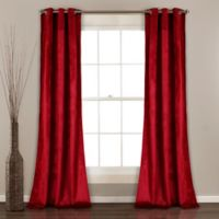 Lush Décor Prima Velvet 84-Inch Grommet Room Darkening Window Curtain Panel Pair in Red