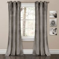 Lush Décor Prima Velvet 84-Inch Grommet Room Darkening Window Curtain Panel Pair in Grey