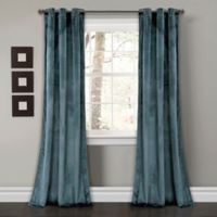 Lush Décor Prima Velvet 84-Inch Grommet Room Darkening Window Curtain Panel Pair in Slate Blue