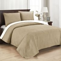 Brielle Honeycomb Reversible Twin Quilt Set in White/Linen