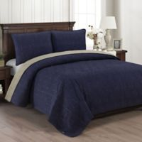 Brielle Honeycomb Reversible King Quilt Set in Navy/Grey