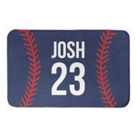 Designs Direct 34-Inch x 21-Inch Baseball Stitching Bath Mat in Blue