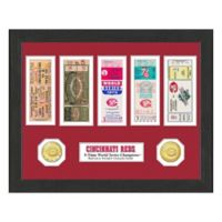 MLB Cincinnati Reds World Series Bronze Coin & Ticket Collection Photo Mint