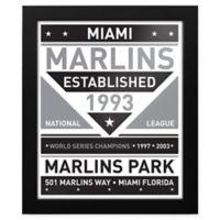 MLB Miami Marlins Black and White Team Sign Framed Print