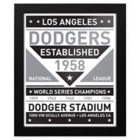 MLB Los Angeles Dodgers Black and White Team Sign Framed Print