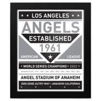 MLB Los Angeles Angels Black and White Team Sign Framed Print