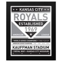 MLB Kansas City Royals Black and White Team Sign Framed Print