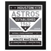 MLB Houston Astros Black and White Team Sign Framed Print