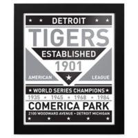 MLB Detroit Tigers Black and White Team Sign Framed Print