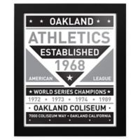 MLB Oakland Athletics Black and White Team Sign Framed Print