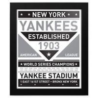 MLB New York Yankees Black and White Team Sign Framed Print