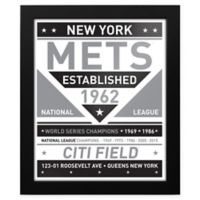 MLB New York Mets Black and White Team Sign Framed Print