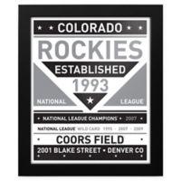 MLB Colorado Rockies Black and White Team Sign Framed Print
