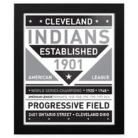 MLB Cleveland Indians Black and White Team Sign Framed Print