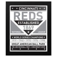MLB Cincinnati Reds Black and White Team Sign Framed Print