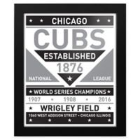MLB Chicago Cubs Black and White Team Sign Framed Print