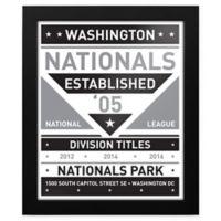 MLB Washington Nationals Black and White Team Sign Framed Print
