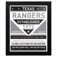 MLB Texas Rangers Black and White Team Sign Framed Print