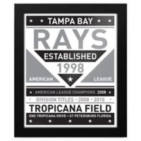 MLB Tampa Bay Rays Black and White Team Sign Framed Print