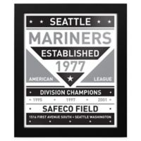 MLB Seattle Mariners Black and White Team Sign Framed Print