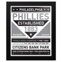 MLB Philadelphia Phillies Black and White Team Sign Framed Print