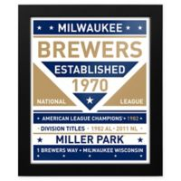 MLB Milwaukee Brewers Dual Tone Team Sign Framed Print