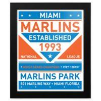 MLB Miami Marlins Dual Tone Team Sign Framed Print