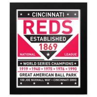 MLB Cincinnati Reds Dual Tone Team Sign Framed Print