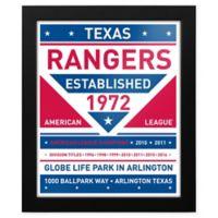 MLB Texas Rangers Dual Tone Team Sign Framed Print