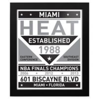 NBA Miami Heat Black and White Team Sign Framed Print