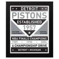 NBA Detroit Pistons Black and White Team Sign Framed Print