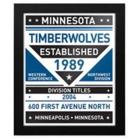 NBA Minnesota Timberwolves Dual Tone Team Sign Framed Print