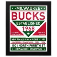 NBA Milwaukee Bucks Dual Tone Team Sign Framed Print