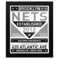 NBA Brooklyn Nets Dual Tone Team Sign Framed Print