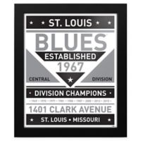 NHL St. Louis Blues Black and White Team Sign Framed Print