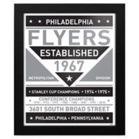 NHL Philadelphia Flyers Black and White Team Sign Framed Print