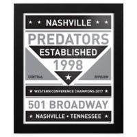 NHL Nashville Predators Black and White Team Sign Framed Print