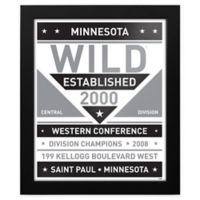 NHL Minnesota Wild Black and White Team Sign Framed Print