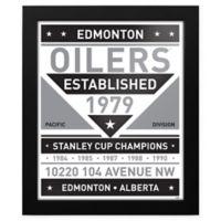 NHL Edmonton Oilers Black and White Team Sign Framed Print