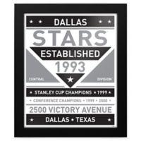 NHL Dallas Stars Black and White Team Sign Framed Print