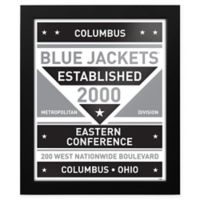NHL Columbus Blue Jackets Black and White Team Sign Framed Print